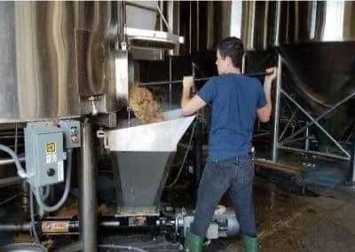 Spent grain removal bin
